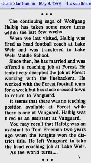 Halbig fired as head football manager at lake weir