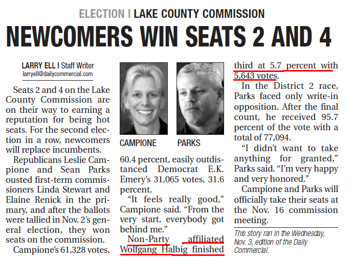 election lake country commission - A Man of the People